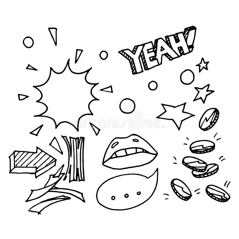 Pieniądze, gotówki doodle nakreślenie ilustracja wektor