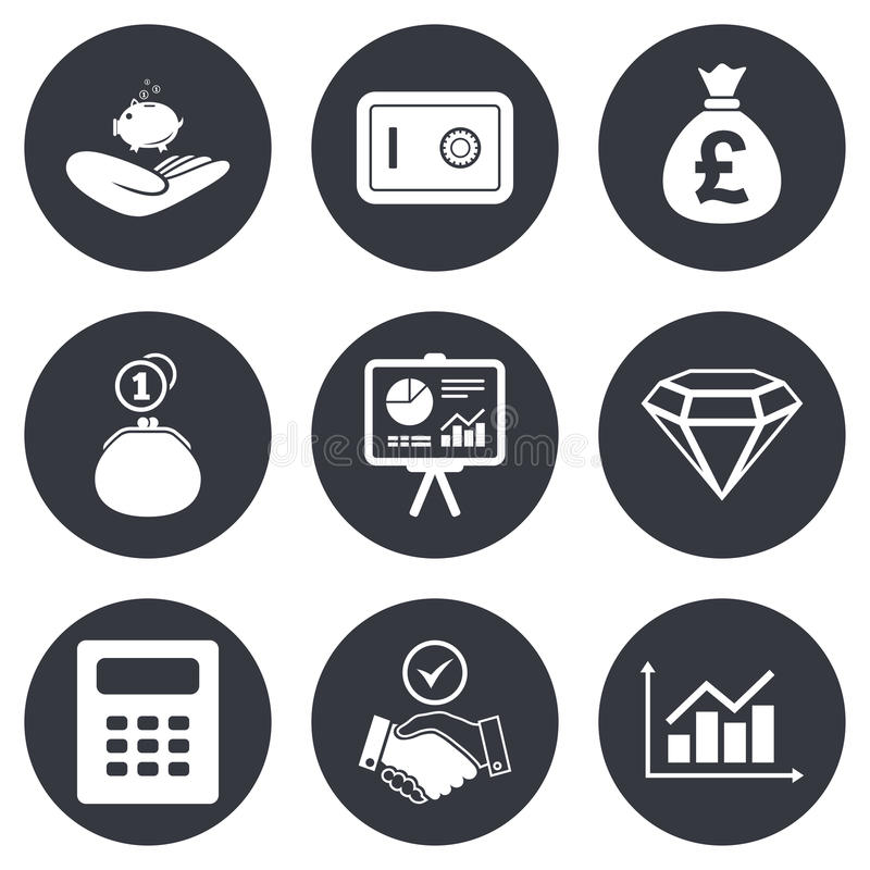 Pieniądze, gotówki i finanse ikony, Uścisku dłoni znak ilustracji