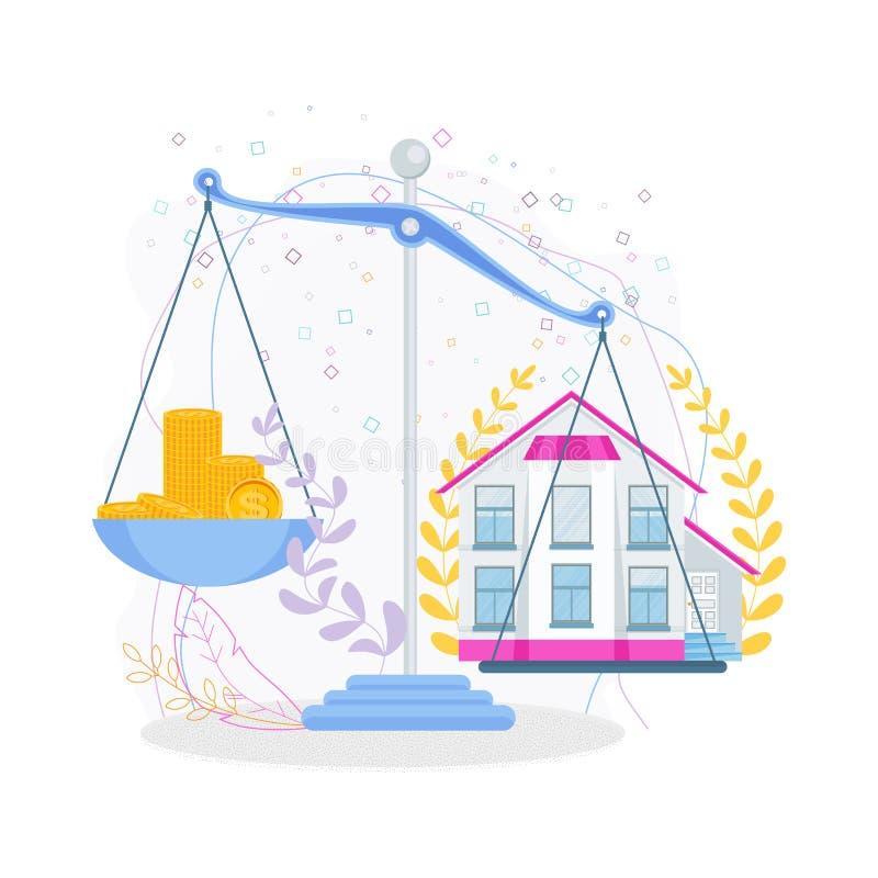 Pieniądze i dom na skali koncepcja real nieruchomo?ci ilustracja wektor