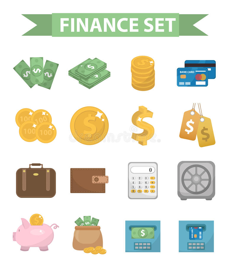 Pieniądze i finanse ikony, nowożytny mieszkanie styl Kolekcja na białym tle Bank protestuje rzeczy wektor royalty ilustracja