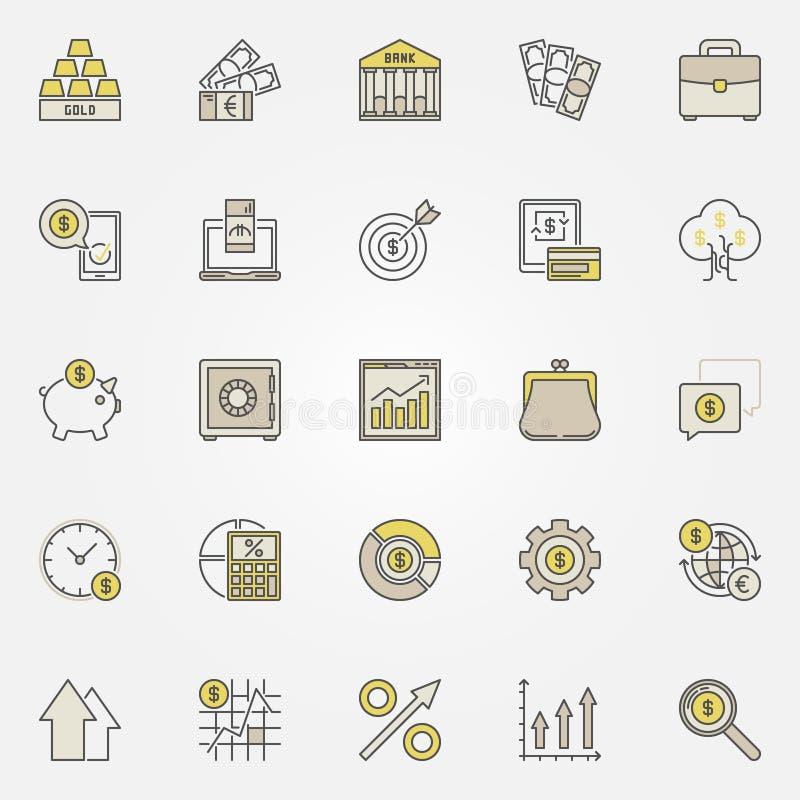 Pieniądze i inwestorskie kolorowe ikony ilustracji