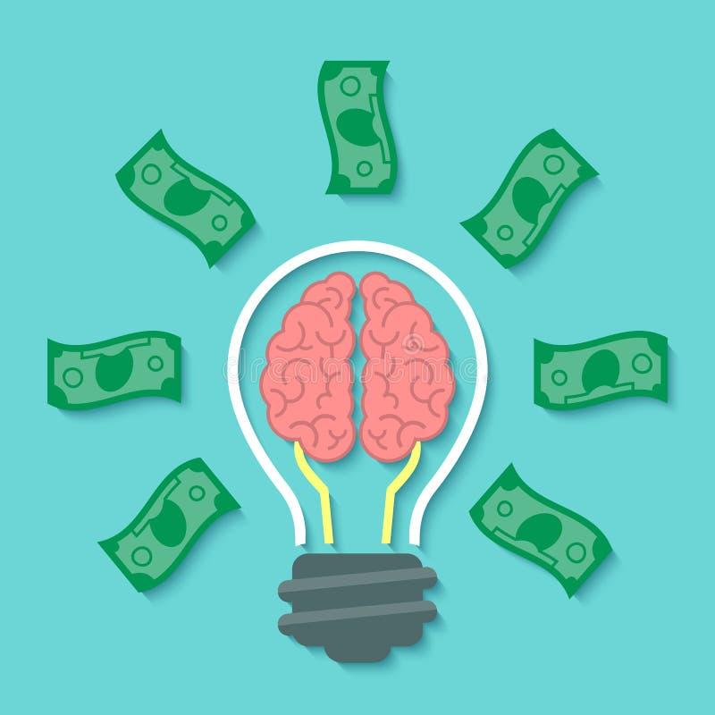 Pieniądze i mózg pomysłu pojęcie ilustracji
