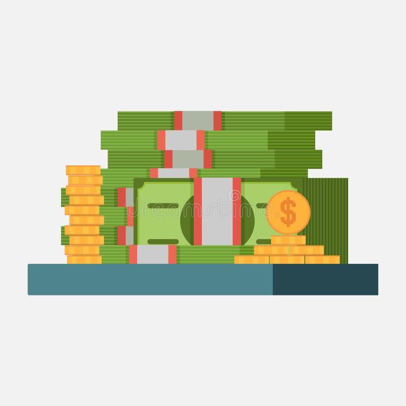 Pieniądze ikona, banknoty i monety, zysku pojęcia wizerunku dochód ilustracja wektor