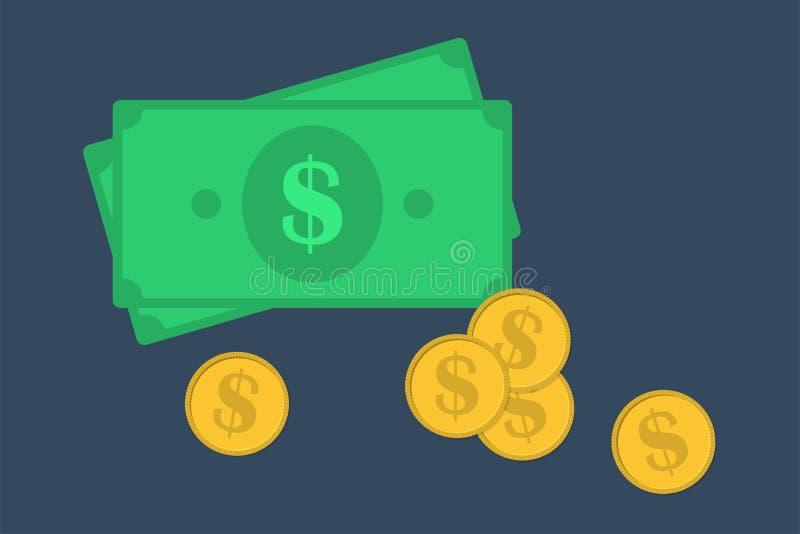 Pieniądze ikony Dolarowych sterta papieru banknotów i złocistych monet ikona biznesu map pojęcia finanse graficzny ręki mienie na royalty ilustracja