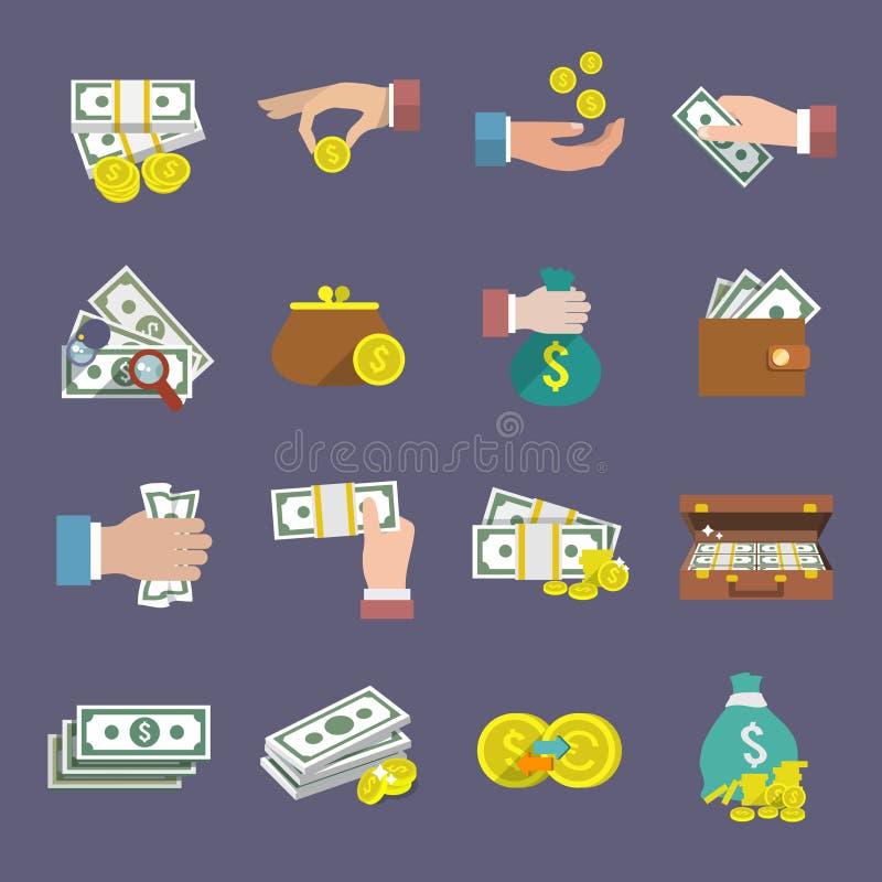 Pieniądze ikony mieszkanie royalty ilustracja
