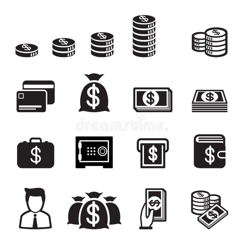 Pieniądze ikony set ilustracji