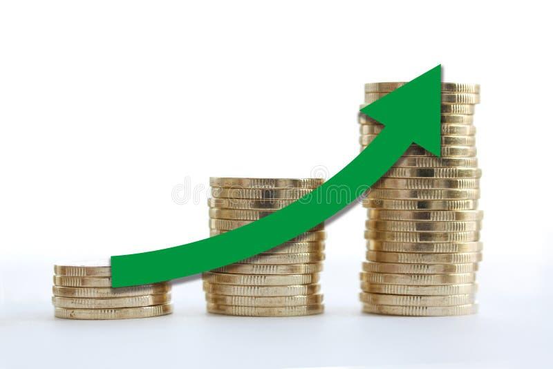 Pieniądze jako schody wykres z zieloną strzała iść up gospodarka na białym tle z bliska ilustracji