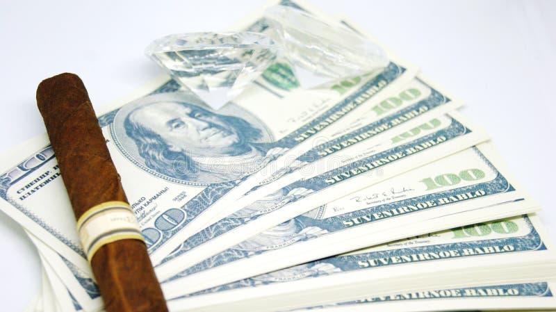 Pieniądze, kamienie i cygara, obraz royalty free