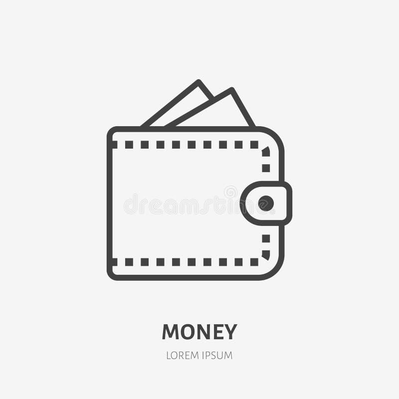 Pieniądze kiesy mieszkania linii ikona Gotówka, karta kredytowa w portfla znaku Cienki liniowy logo dla finansowych usług, pożycz ilustracji