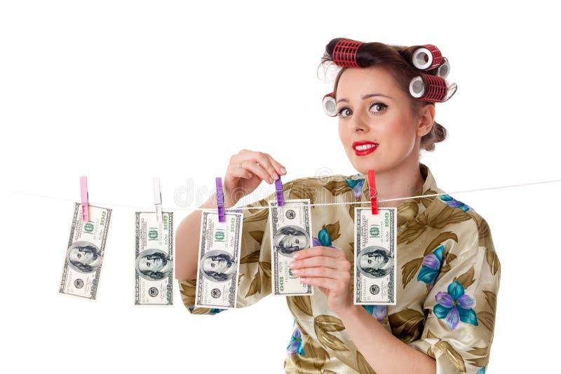 pieniądze kobiety potomstwa obrazy stock