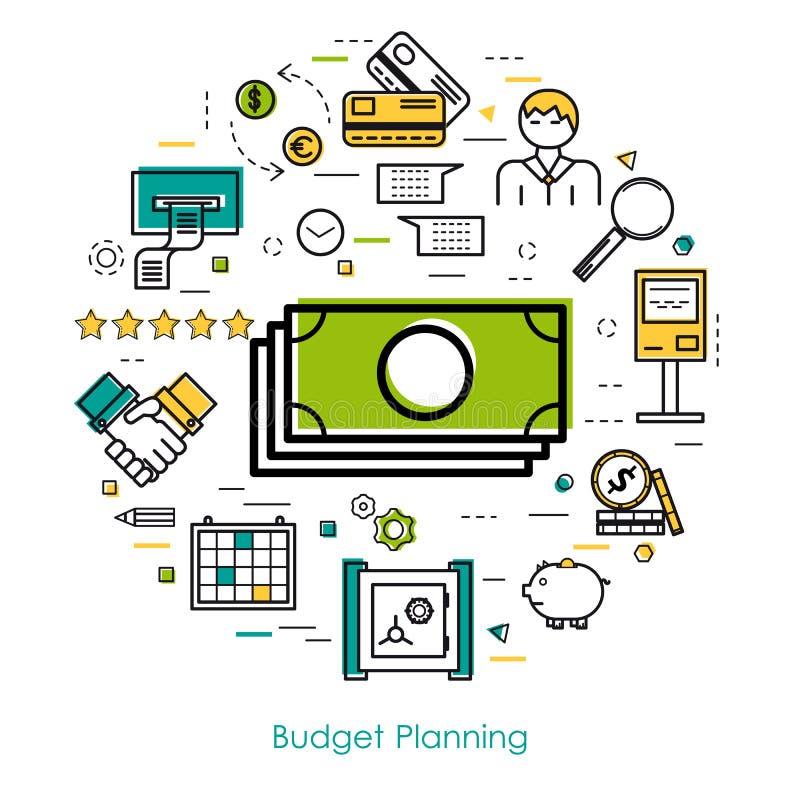 Pieniądze Kontrolny i budżeta planowanie ilustracja wektor