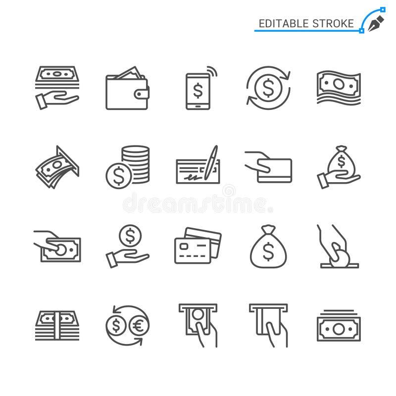 Pieniądze konturu ikony set ilustracja wektor