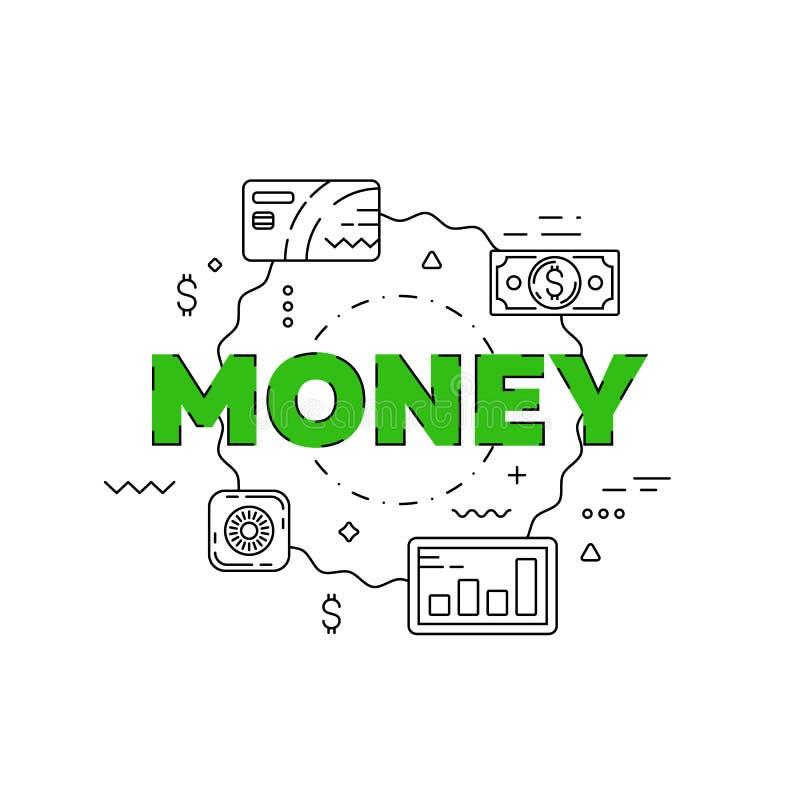 Pieniądze kreskowa ilustracja Kreskowy płaski projekt dla strony internetowej zdjęcia stock