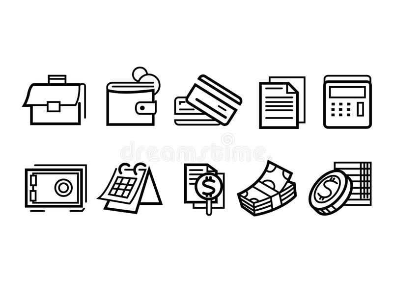 Pieniądze Kreskowe ikony zdjęcie stock