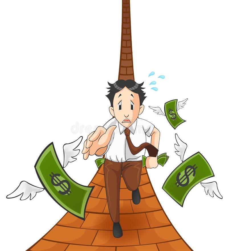Pieniądze lata zdala od kieszeniowego (z śladem) ilustracja wektor