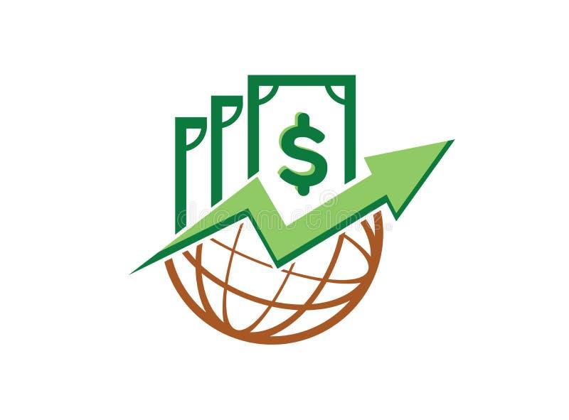 Pieniądze mapa w kuli ziemskiej ikonie dla logo projekta ilustratora, statystyczny symbol, strzała r w górę ikony ilustracja wektor