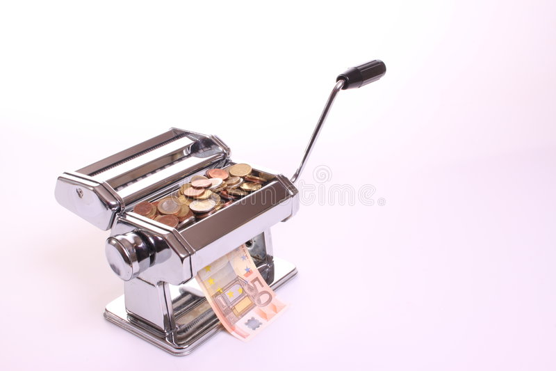 pieniądze maszynowy robi makaron obraz stock