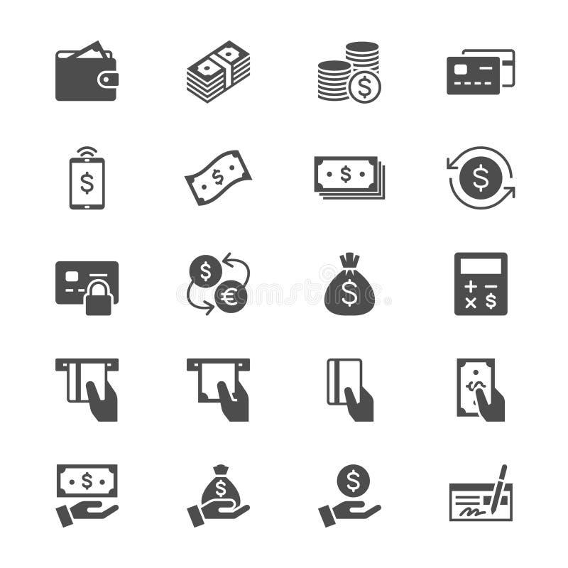 Pieniądze mieszkania ikony ilustracji
