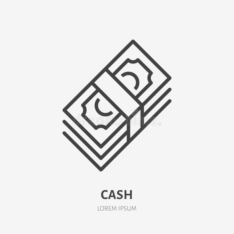 Pieniądze mieszkania linii ikona Gotówka, papierowej waluty znak Cienki liniowy logo dla finansowych usług, pożyczka, zapłata, ku royalty ilustracja