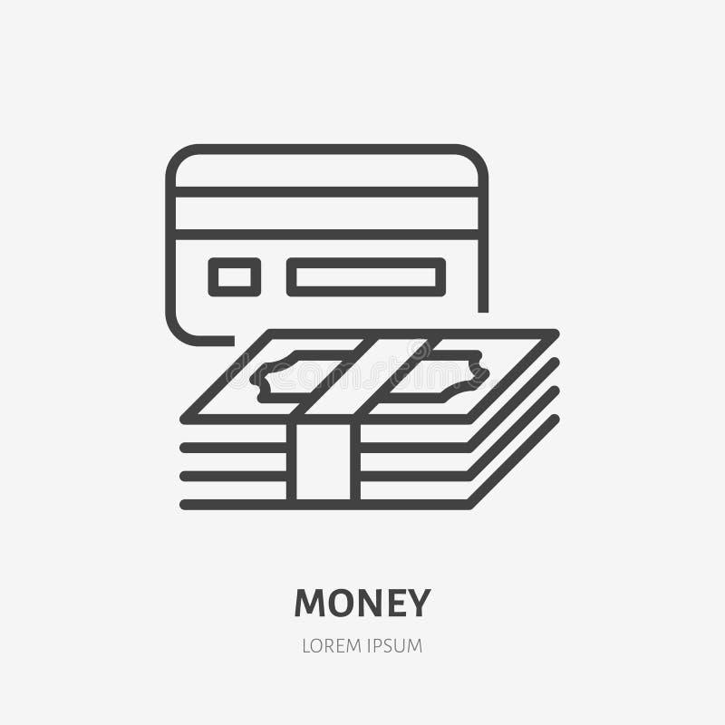 Pieniądze mieszkania linii ikona Gotówki i karty kredytowej znak Cienki liniowy logo dla finansowych usług, pożyczka, zapłata, ku ilustracji