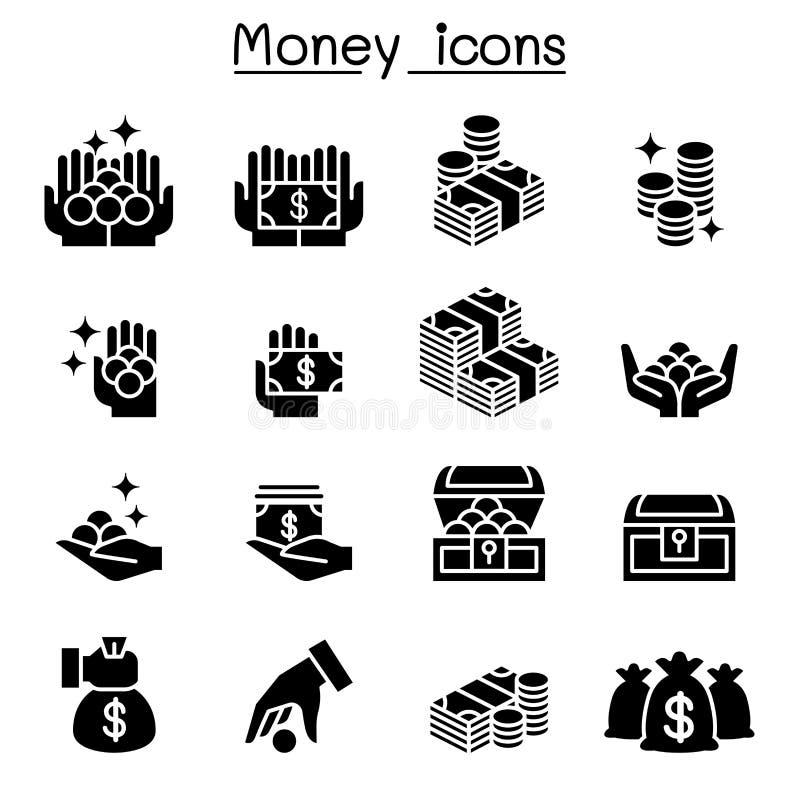 Pieniądze, moneta, Gotówkowy ikona set ilustracji