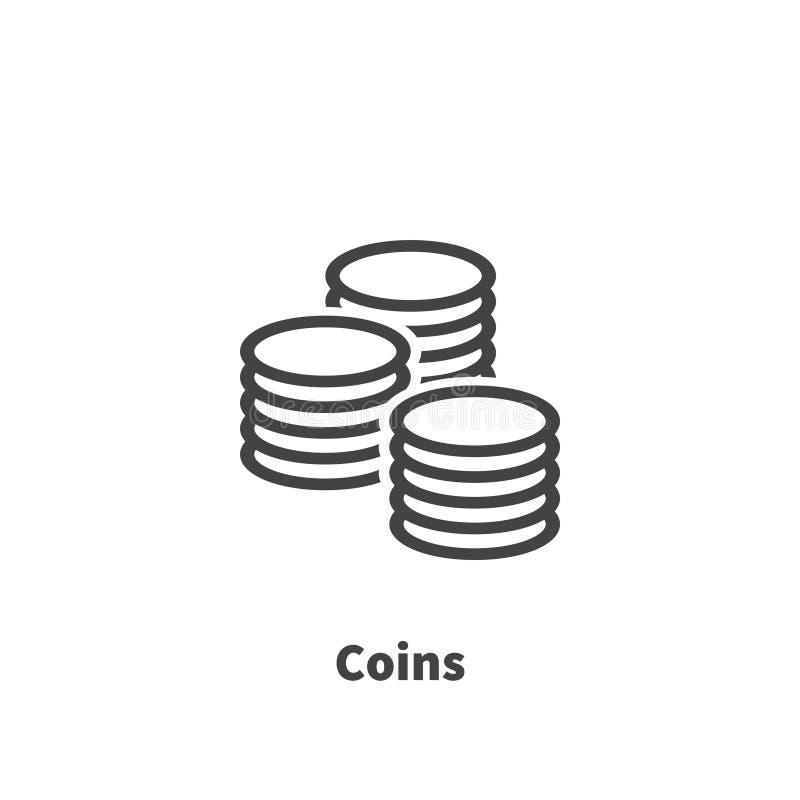 Pieniądze, monety ikona, wektorowy symbol ilustracja wektor