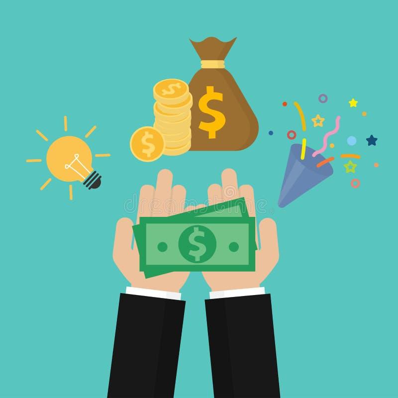Pieniądze na palmie Gromadzi fundusze pojęcie Crowdfunding lub pomysł dla pieniądze Znalezisko pieniądze pojęcie Wektor w mieszka royalty ilustracja