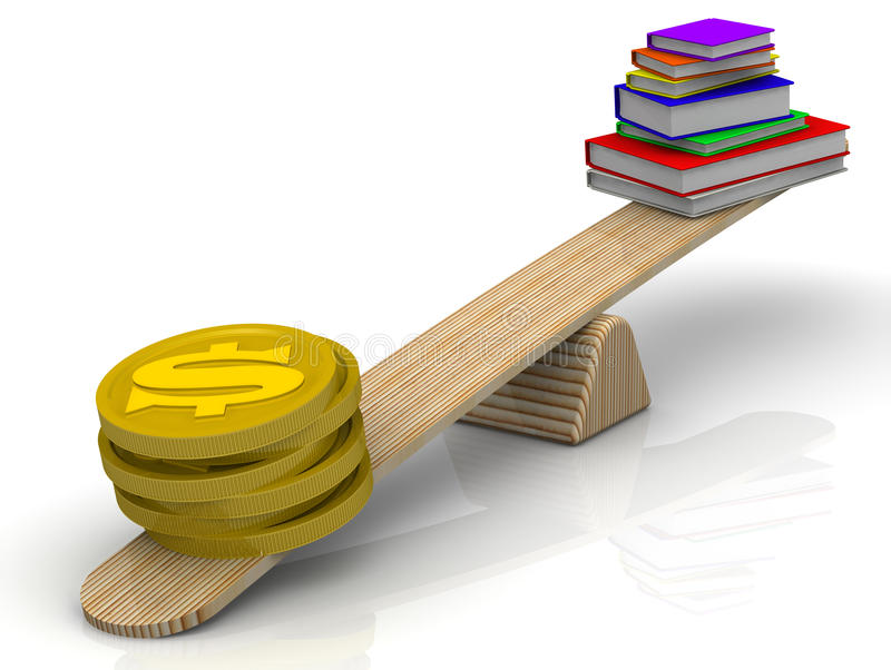 Pieniądze na skala przeważa stos książki ilustracji