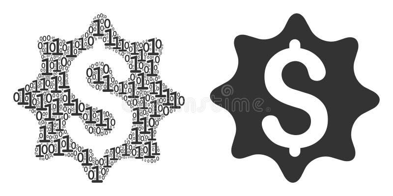 Pieniądze nagrody kolaż Binarne cyfry ilustracja wektor