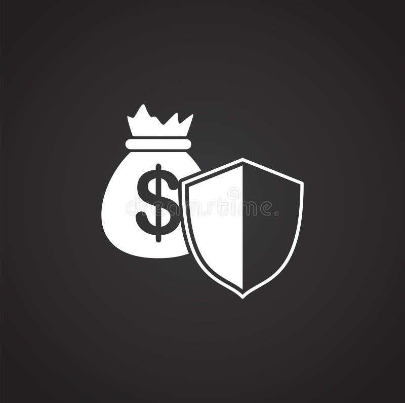 Pieniądze ochrona odnosić sie ikonę na tle dla grafiki i sieci projekta samolotu terminal ilustracyjny prosty Internetowy poj?cie royalty ilustracja