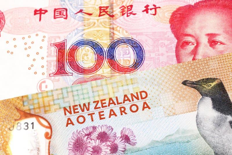 Pieniądze od Nowa Zelandia zamkniętego w górę makro- z pieniądze od Chiny w obraz royalty free