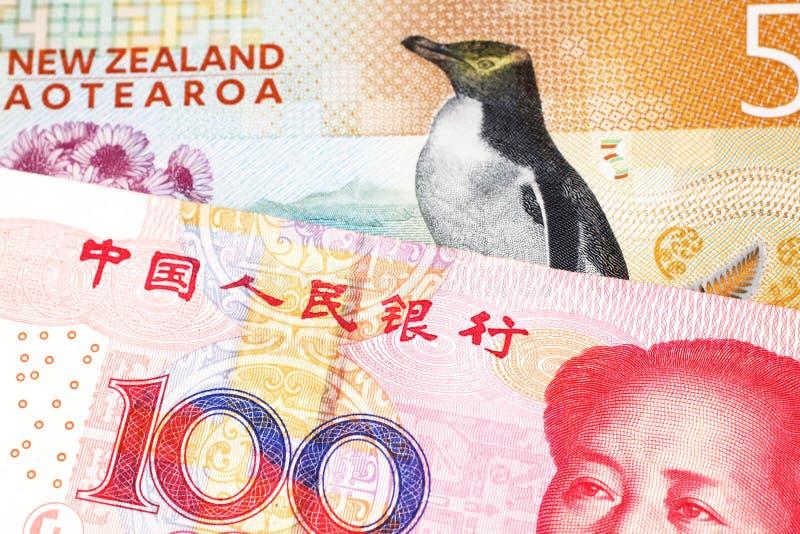 Pieniądze od Nowa Zelandia zamkniętego w górę makro- z pieniądze od Chiny w zdjęcie royalty free