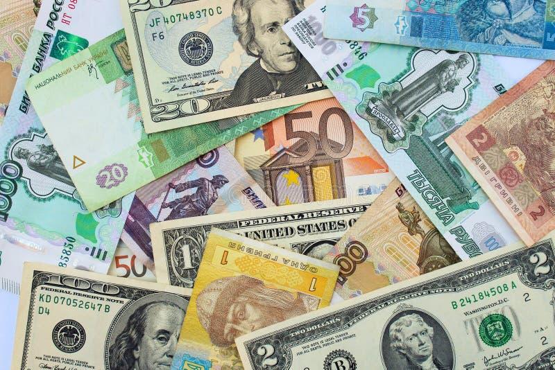 Pieniądze od różnych krajów dolarów, euro, hryvnia, ruble obrazy stock