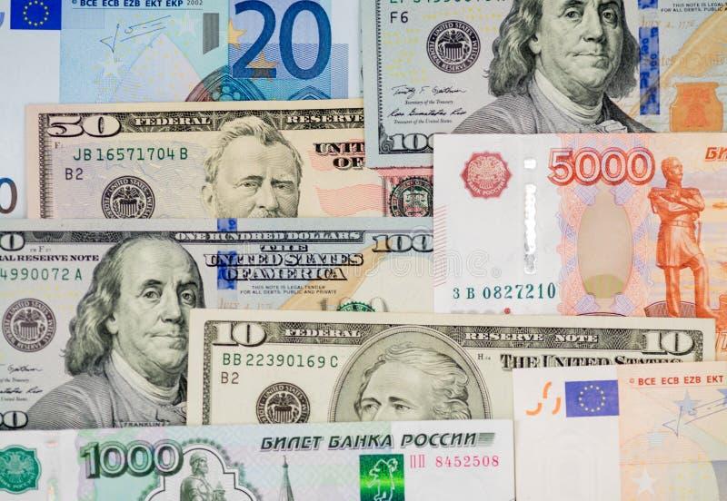 Pieniądze od różnych krajów: dolary, euro, ruble fotografia stock