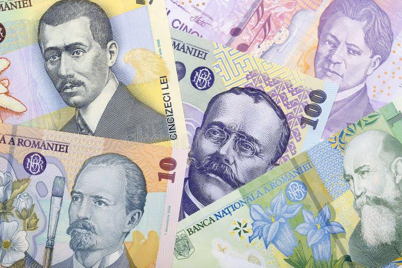 Pieniądze od Rumunia, tło zdjęcia stock