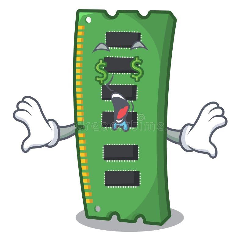 Pieni?dze oka RAM karta pami?ci nad kresk?wka st?? ilustracji
