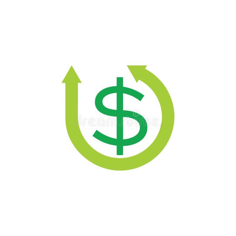 Pieniądze okręgu strzał symbolu logo dolarowy wektor ilustracji