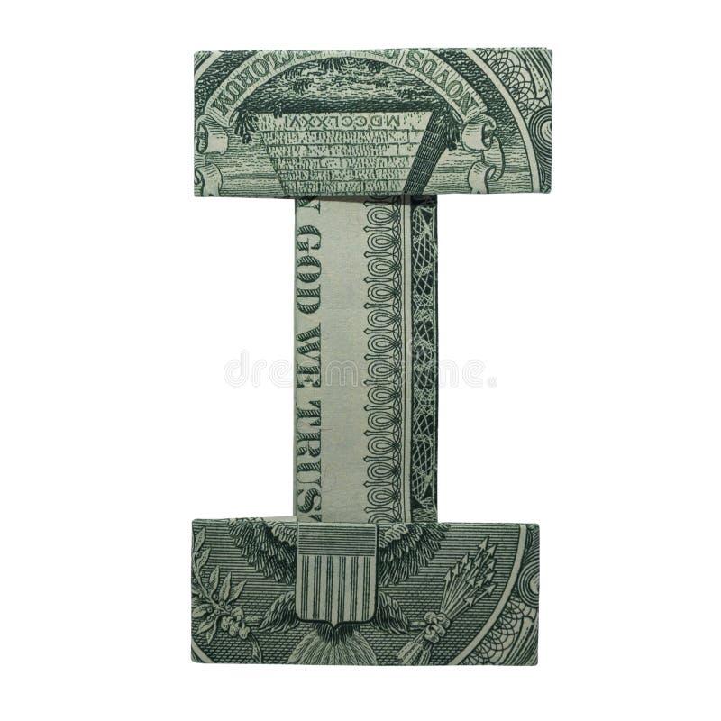 Pieniądze Origami list Ja charakteru real Jeden Dolarowy Bill Odizolowywający na Białym tle zdjęcia royalty free