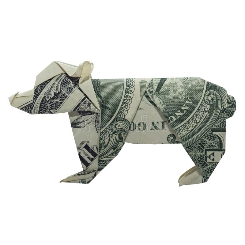 Pieniądze Origami niedźwiedzia lisiątka Zwierzęcy real Jeden Dolarowy Bill Odizolowywający na Białym tle zdjęcia royalty free