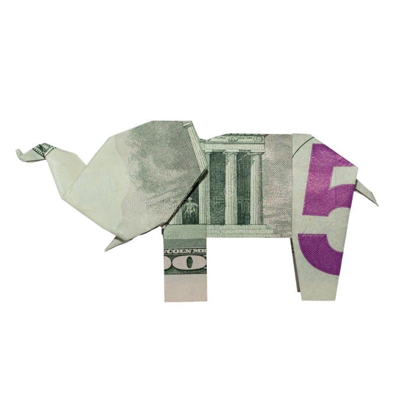 Pieniądze Origami słonia lewa strona Składająca z realem PIĘĆ Dolarowy Bill obraz stock
