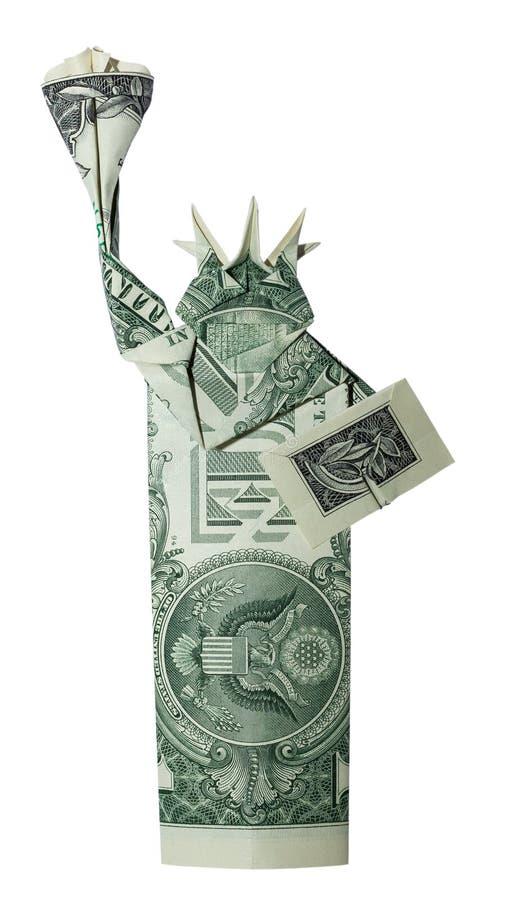 Pieniądze Origami statuy wolności Odosobniony real Jeden Dolarowy Bill na Białym tle fotografia stock