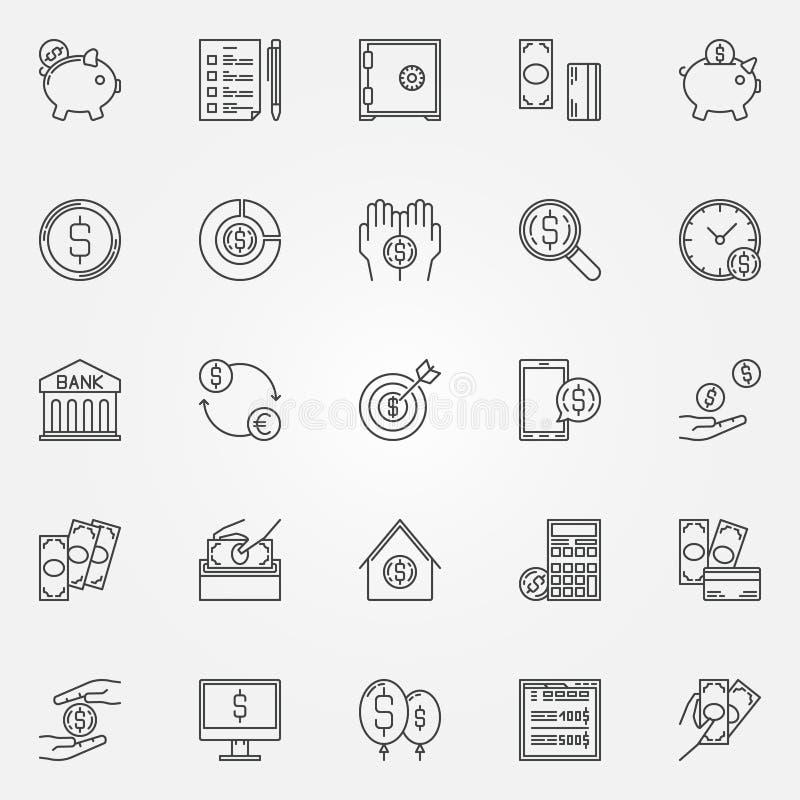 Pieniądze oszczędzania ikony ustawiać ilustracja wektor