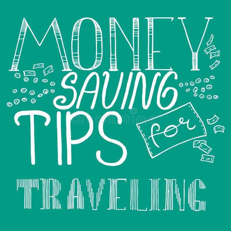 Pieniądze oszczędzania porady dla podróżować - wektorowy literowanie, tekst dla podróż artykułu z dekoracją monety i papierowy pi royalty ilustracja