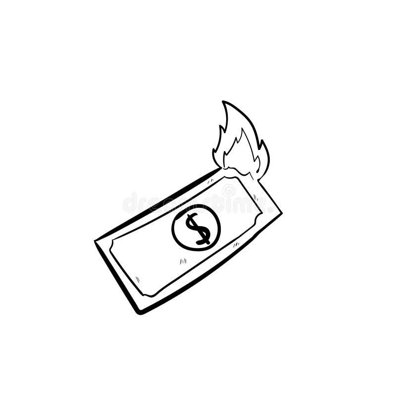 Pieniądze pali doodle ikonę wektorowa ilustracja wektor