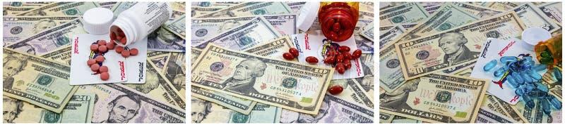 Pieniądze pigułki butelki leki uprawia hazard jokeru przyzwyczajenie fotografia stock