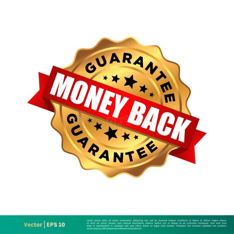 Pieniądze plecy gwarancji foki znaczka Złocistego Wektorowego szablonu Ilustracyjny projekt Wektor EPS 10 ilustracji