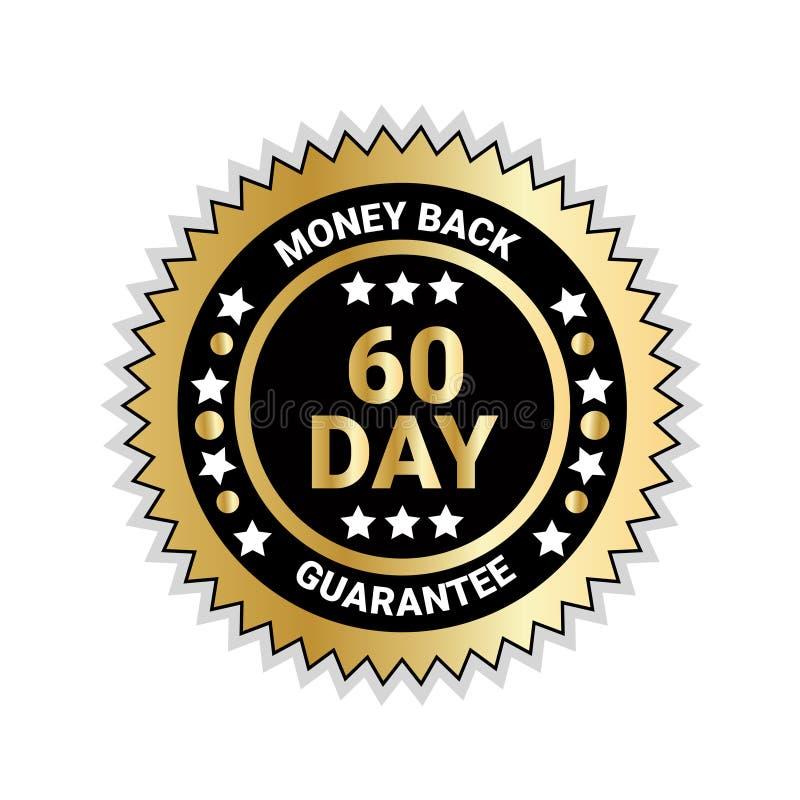 Pieniądze plecy W 60 dni gwaranci odznaki Złotym medalu Odizolowywającym ilustracji