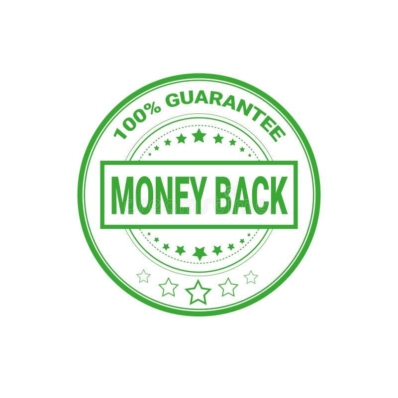Pieniądze plecy znak 100 procentów gwaranci świadectwa etykietki Odizolowywającej ilustracja wektor