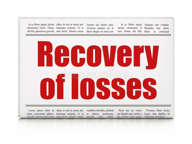 Pieniądze pojęcie: nagłówka prasowego wyzdrowienie straty royalty ilustracja