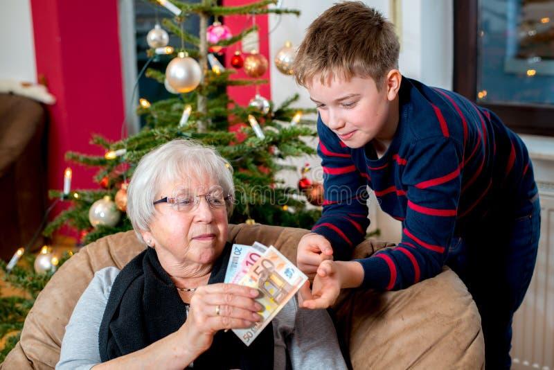 Pieniądze prezent dla wnuka obraz royalty free